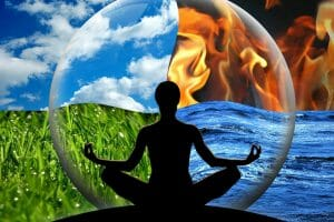 Female yoga figure in a transparent sphere, composed of four natural elements (water, fire, earth, air) as a concept for controlling emotions and power over nature.