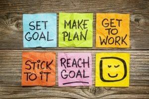 goals/success concept with sticky notes/sanespaces.com