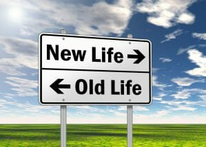 """Traffic Sign """"New Life vs. Old Life"""", career transition."""